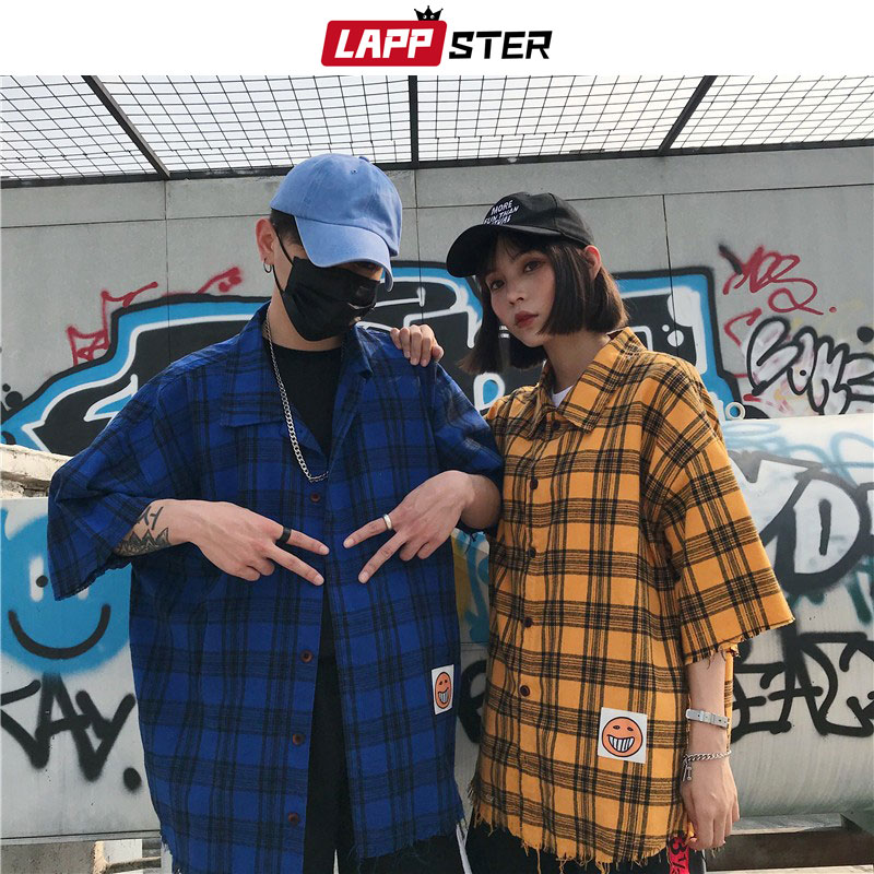 LAPPSTER Streetwear Plaid Shirt Males Brief Sleeve 2019 Mens Summer time Shirt Hip Hop Button Shirts Common Match Informal Cotton Clothes Informal Shirts, Low-cost Informal Shirts, LAPPSTER Streetwear Plaid...