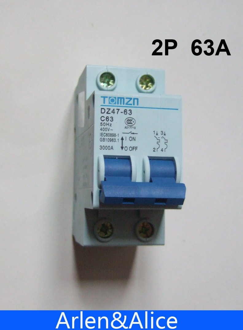 2P 63A 400V~ 50HZ/60HZ Circuit breaker AC MCB safety breaker C type ...