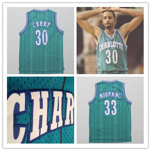 new concept 50bb3 c7c42 Mens Stitched Dell Curry Alonzo Mourning Basketball Jersey,Dell Curry  Charlotte Jersey 30 Green S to XXXL-in Basketball Jerseys from Sports & ...