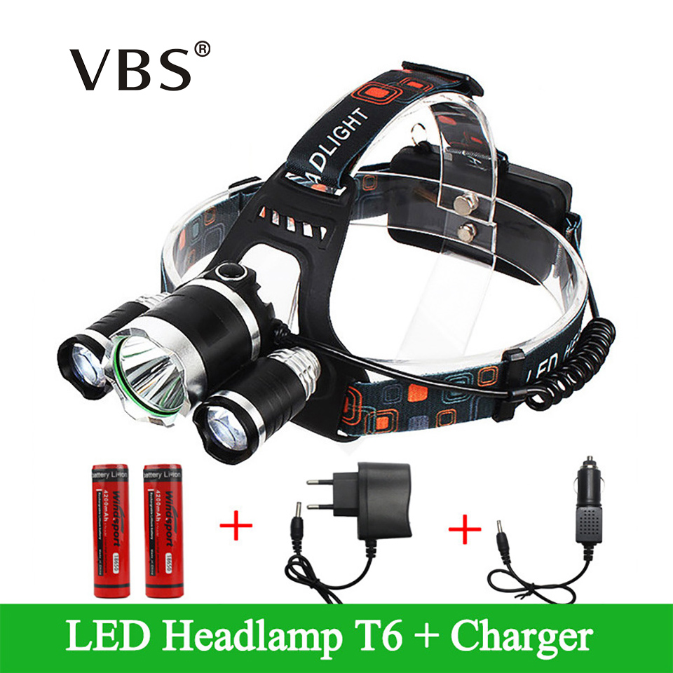 Portable 3 LED Head lamp T6+2*R2 lampe frontale Light 4 Modes for Bicycle Riding zaklamp High Power+Charger, 18650 Battery