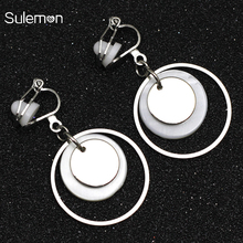 Metal Round Shell Clip On Earrings Non Pierced Natural Geometric Without Piercing Women Minimalist Earring CE356