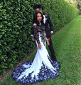 Black And White Applique Prom Dresses Lace Long Sleeve 2016 Nigeria Girl's Mermaid Arabic Occasion Evening Dress Cheap