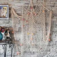 1x2 m & 1,5x2 m Mediterranen Stil Handgemachte Dekorative Fischernetz Baumwolle Gewinde Bar Fisch Netze decor Strand Szene Party Dekoration