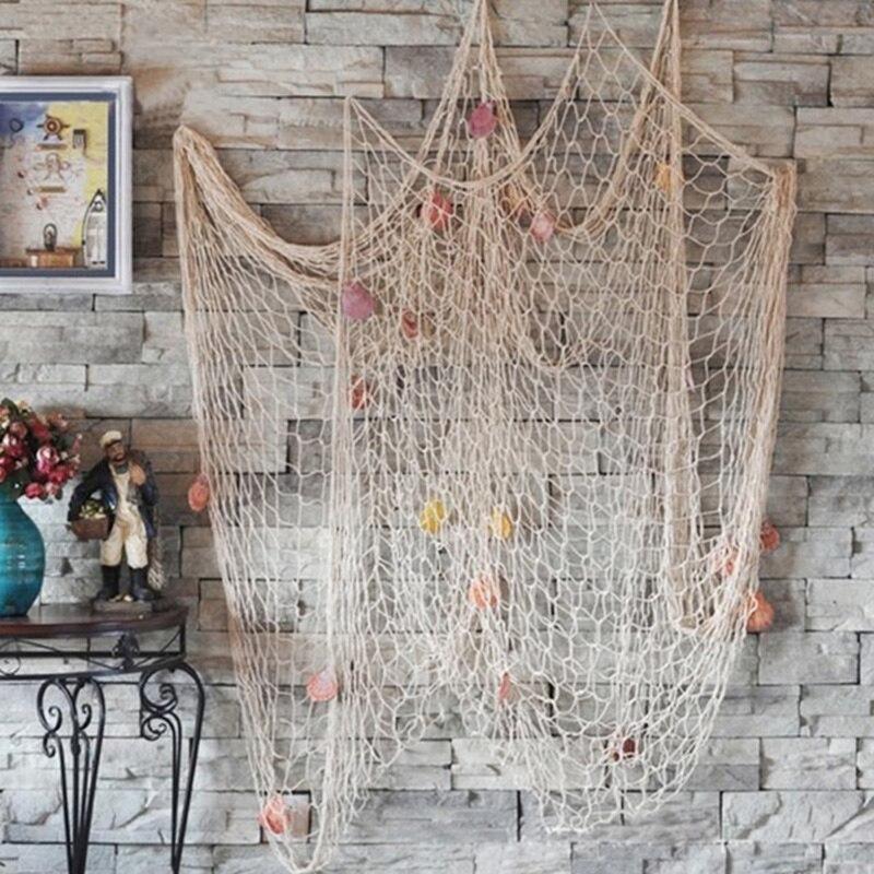 1x2m & 1.5x2m Mediterranean Style Handmade Decorative Fishing Net Cotton Thread Bar Fish Nets Decor Beach Scene Party Decoration