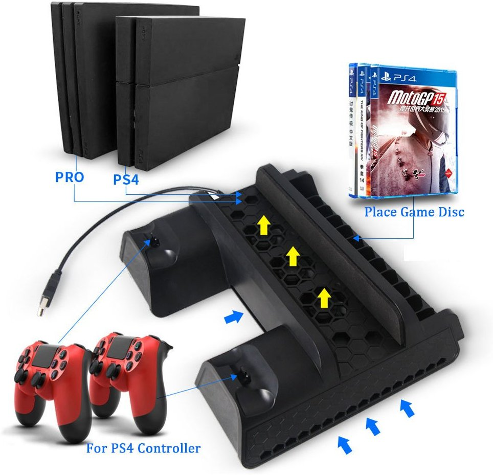 For PS4 Slim PRO Multi-Functiona Vertical Stand with Cooling Fan+Dual Controllers Charging Station+Game Storage Slots