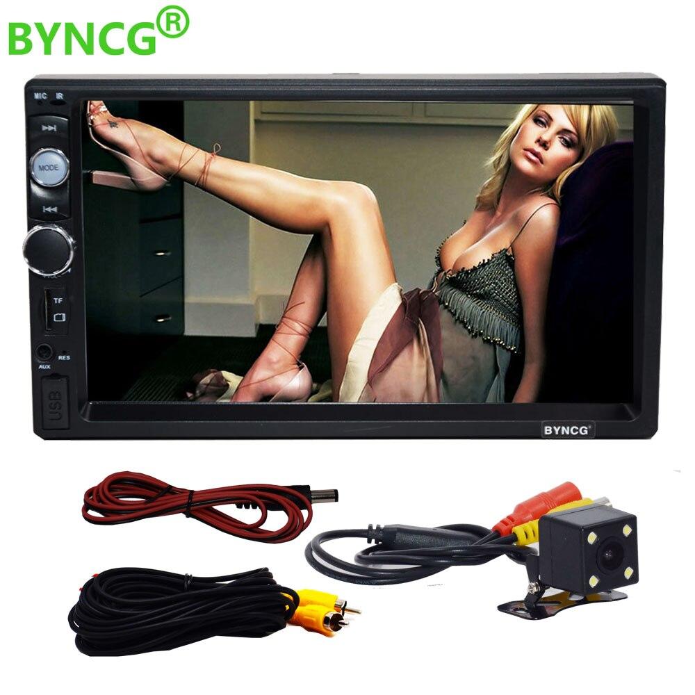 BYNCG 7 zoll 2 Din HD AutoRadio Bluetooth USB/TF FM Aux Eingang Auto Radio Auto MP5 MP4 MP3 player HD Rückansicht Kamera