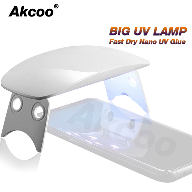 Akcoo BIG UV Lamp Fast fry UV Glue screen protector for Samsung Galaxy S8 9 plus note 8 9 7 full glue 6W BIG UV light for huawei