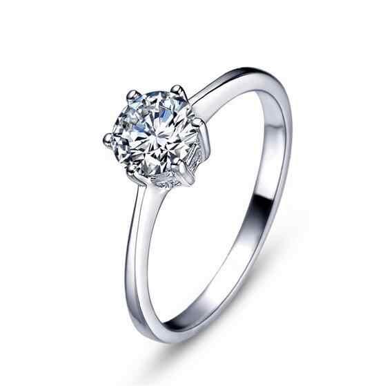 Crown Desain yang Warna Putih Emas Klasik 6 Prong Sparkling Solitaire 1ct Cubic Zirconia Batu Wedding Rings Untuk Wanita bijoux