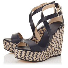2016 Ladies Shoes Wedges Sweet Women Hemp Rope Sandals Two Pieces Dark Blue Leather Comfort Party Wedge Platform Caged Heels