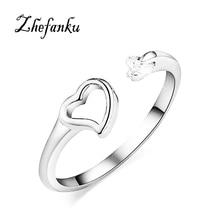 2017 1Pcs Fashion New Personality Elegant Zircon Heart-Shaped Hand-Set Opening Couple Rings