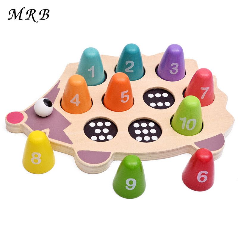 Barnleksaker Montessori Pedagogiska Träleksaker Math Toy Cartoon Färgglada Hedgehog Matching Numerals Infant Baby Present