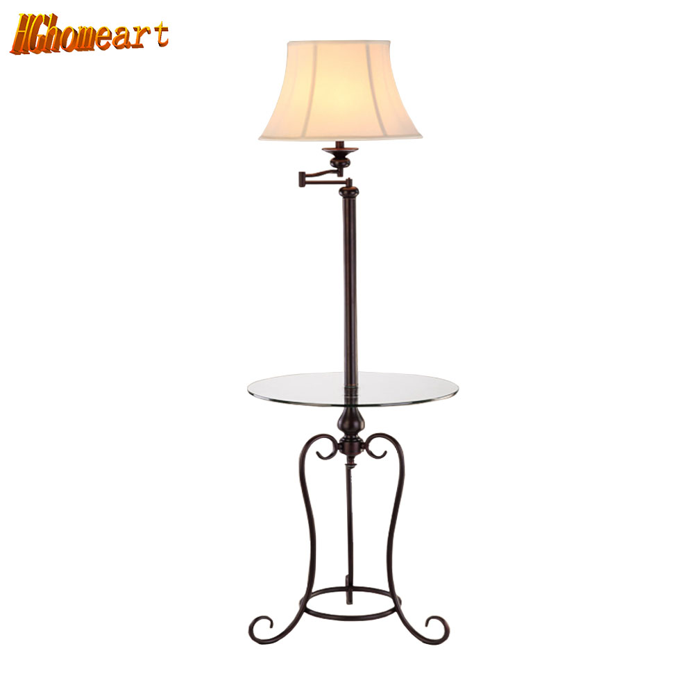 HGHomeart LED Multifunction Retro Floor Lamp E27 Black Iron Lamps 110V/240V Table Living Room Bedroom Bedside Home Lighting