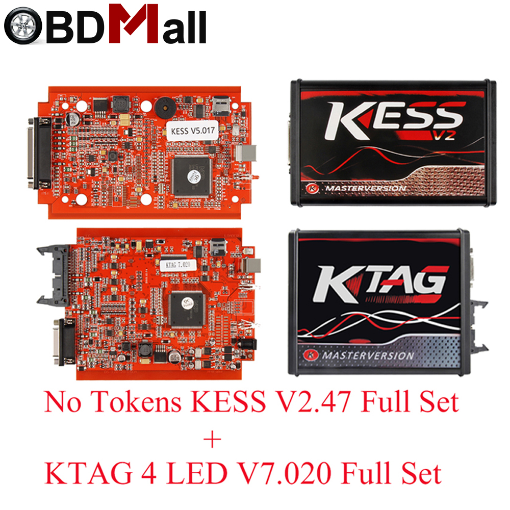 KESS V2 Master Kess V2.47 V2.23 V5.017 EU Red PCB No Token Limit ECM Titanium KTAG V7.020 OBD2 Manager Tuning Kit For Car/Trucks