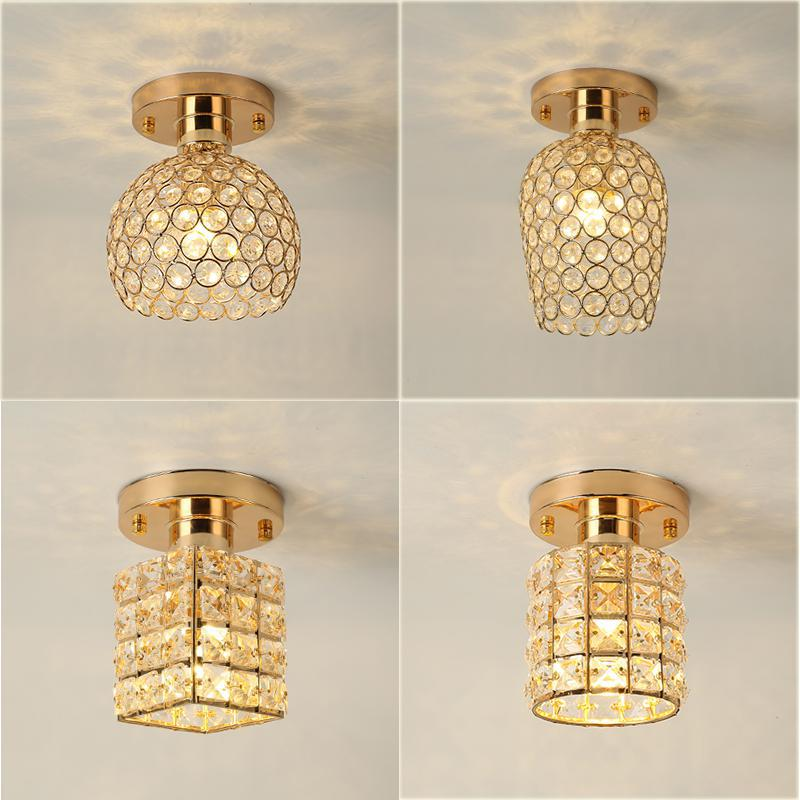 цена на Regron Splendid Ceiling Lighting Gold Led Crystal Wrought Iron Ceiling Lantern Flush Mounted Lamp For Hallway Bedroom Porch