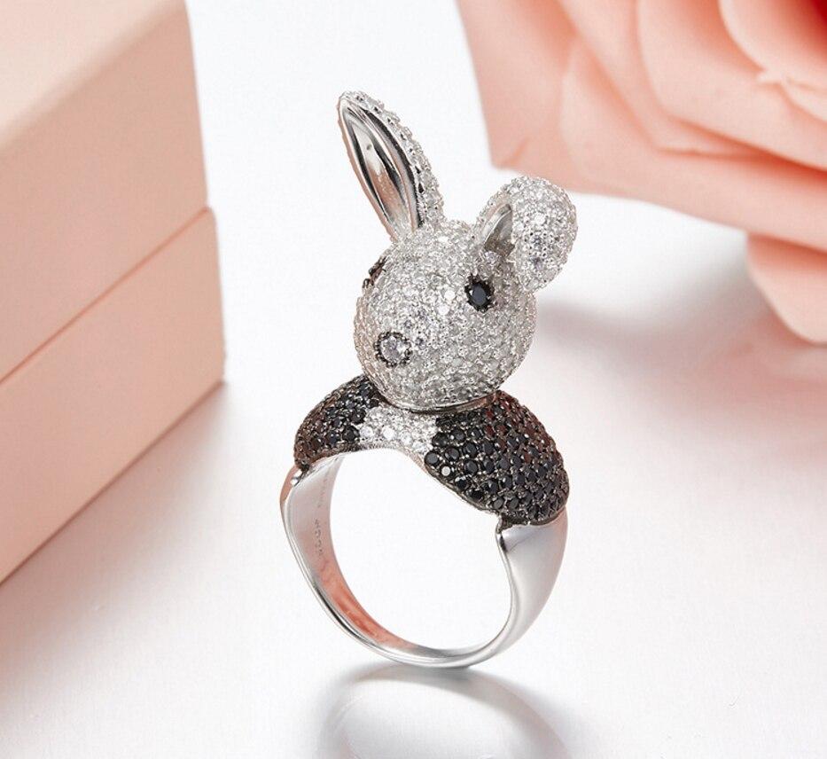 Pur 925 argent Sterling Mr. lapin anneaux pour les femmes Zircon cristal Noble anneau pays des merveilles mode fête dame bijoux cadeaux Size5-7