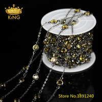 6mm,5Meters,Gun Black Plated Wire Wrapped Links Jewelry,Golden Yellow Clear Glass Faceted Coin Round Beads Necklace Crafts,BH33