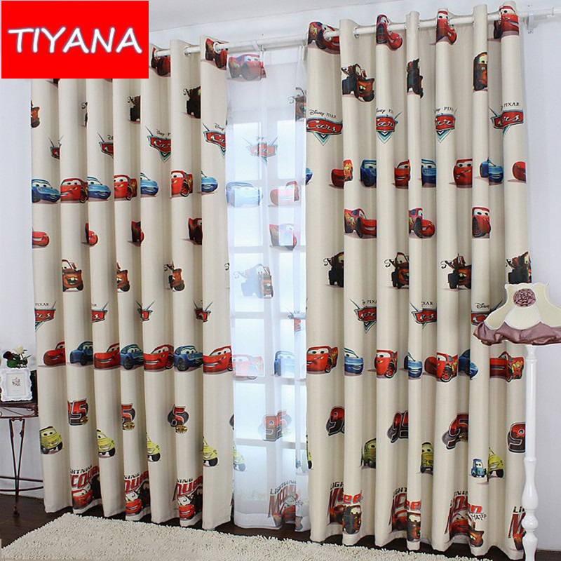 Car cartoon curtains blackout curtain window curtains for - Childrens bedroom blackout curtains ...