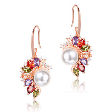 FYM Fashion Rose Gold Color Simulated-pearl Women Wedding Earring Colorful Cubic Zirconia Stud Earrings Jewelry Accessories fym fashion new arrival bow white crystal stud earring rose gold color trendy aaa cubic zirconia cz earrings women