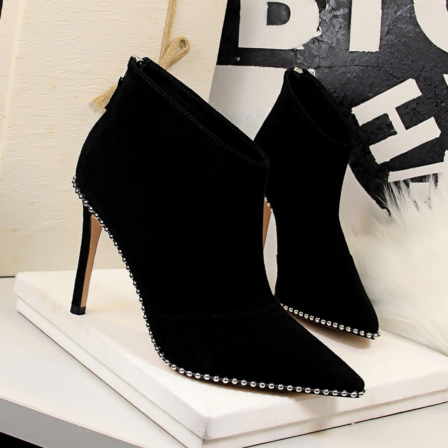 Flock De Bout Femmes 2018 La Mode Hiver Automne Style Élégant En Black Rivet Leather Bottes Cuir Cheville Hauts Talons Pointu Piste Verni black Patent Chaussures C50wSq0