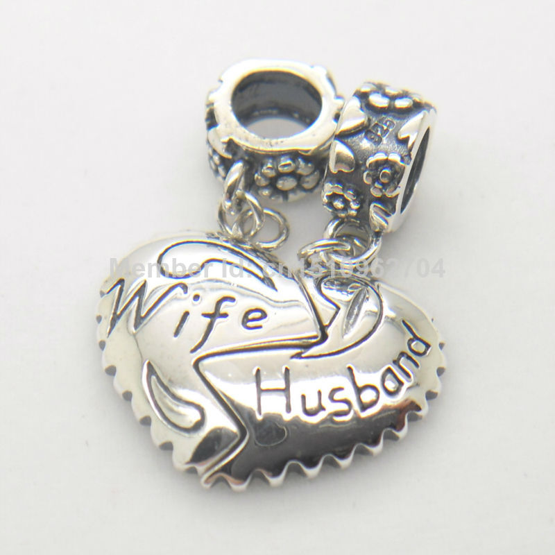 Authentic 925 Sterling Silver Husband Wife Love Heart