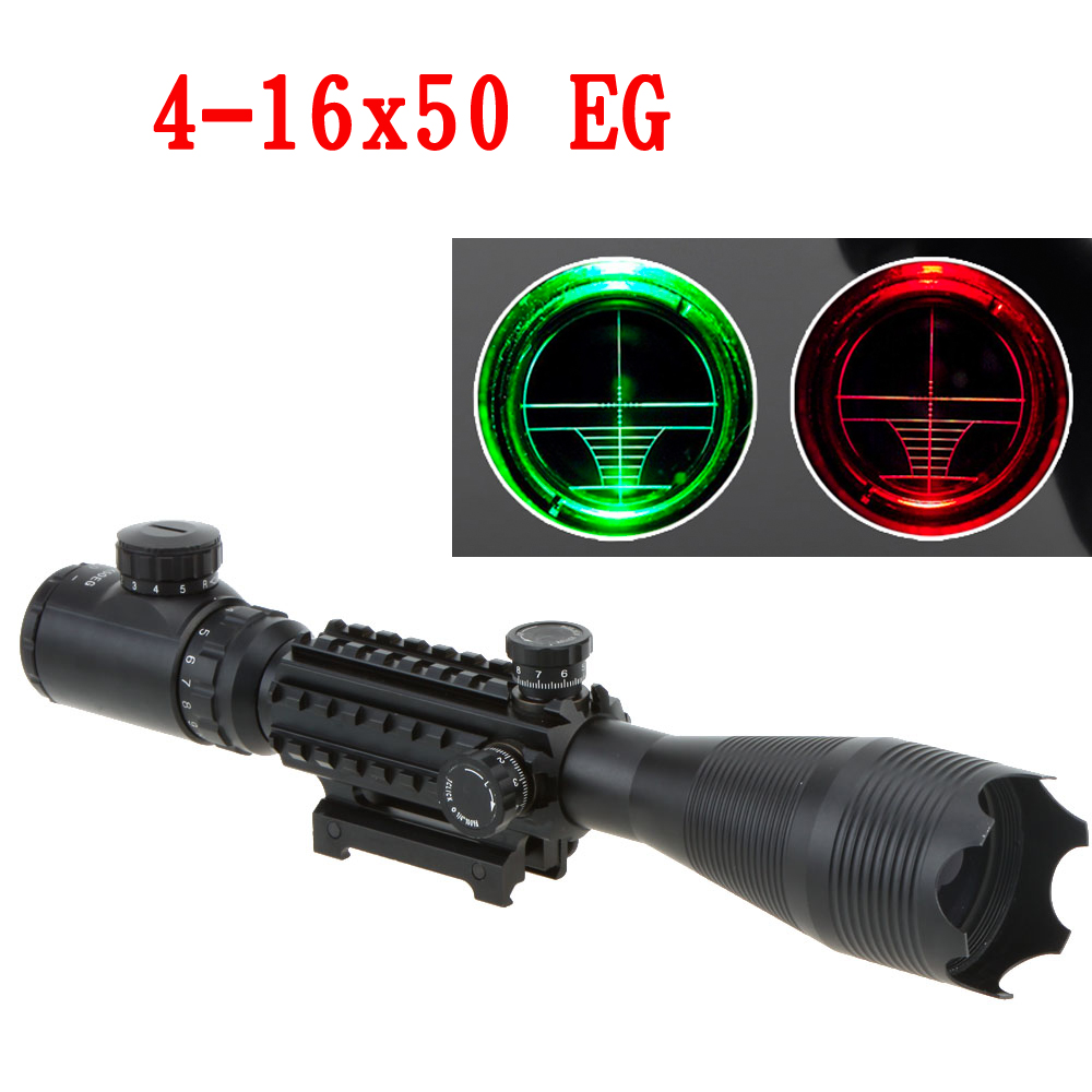 Tactical 4 16X50 EG Professional Red Green Riflescope High Reflex Scope Optics Waterproof with 20MM Rail