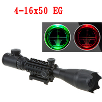 Tactical 4 16X50 EG Professional Red Green Riflescope High Reflex Scope Optics Waterproof with 20MM Rail Mounts Hunting