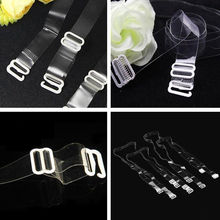 2 pairs Clear Bra Straps Women Transparent Invisible Detachable Adjustable Metal Hook for Spring Summer