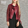 Красное вино ПУ кожаные куртки, ветровки женщины выдалбливают кожаная мотоциклетная куртка весте ан cuir femme LT753 БЕСПЛАТНАЯ ДОСТАВКА