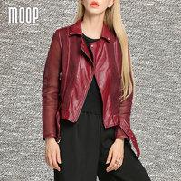 Vino rosso PU giacche in pelle cappotti delle donne scava fuori in pelle moto giacca senza maniche en cuir femme LT753 SPEDIZIONE GRATUITA