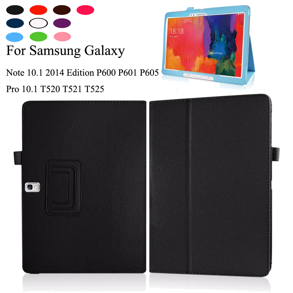 PU Leather Slim Folding For <font><b>Samsung</b></font> <font><b>Galaxy</b></font> Note <font><b>10.1</b></font> <font><b>SM</b></font>-P600 <font><b>SM</b></font>-P601 2014 Edition /<font><b>Tab</b></font> <font><b>pro</b></font> 10.5 T520 T521 <font><b>T525</b></font> Case+Pen image