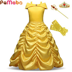 Pamaba meninas princesa belle vestido de baile sem mangas beleza ea besta cosplay outfit festa traje 2-10 anos crianças vestidos