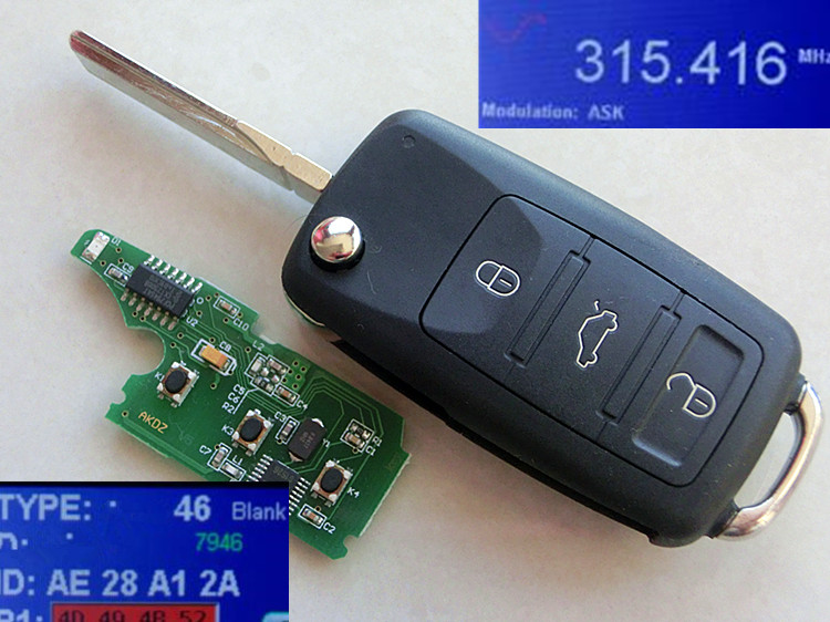 RMLKS 4 Buttons 315MHz 433MHz Keyless Fob 3+1 Buttons Flip Remote Key Fit For VW Touareg With ID46 Chip HU66 Blade