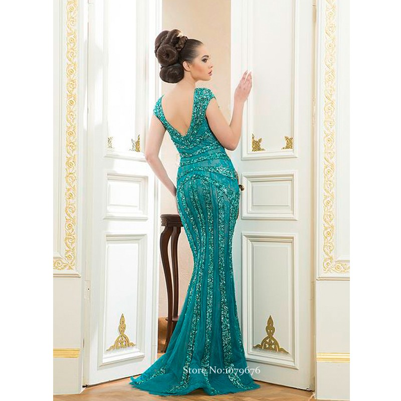 Arab Style 2015 Cap Sleeve Crystal Beaded Turquoise Women Dresses Sexy Long  Lace Evening Dress Mermaid Gowns Backless DSE011-in Evening Dresses from ... 7d52639c7d4e