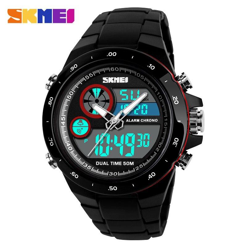 SKMEI hombre reloj Sport relojes de cuarzo de lujo reloj cronómetro alarma Digital Reloj hombre moda al aire libre erkek kol saati 1429