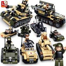 Sluban 8 in 1 Tank DIY Block Building Blocks Military Army Tank Aircraft DIY minifigures Kids  educational toys lepin compatible цена в Москве и Питере