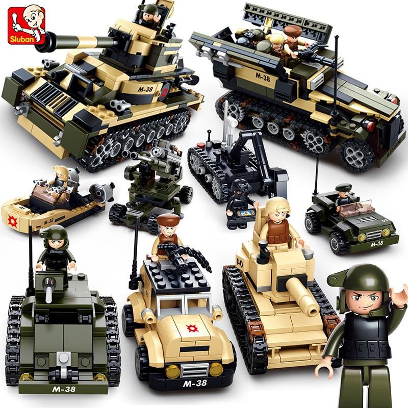 цена на Sluban 8IN1 Legoing Military Tank Building Blocks Sets Army Aircraft Gun Bricks Educational Toys for Children Christmas Gift