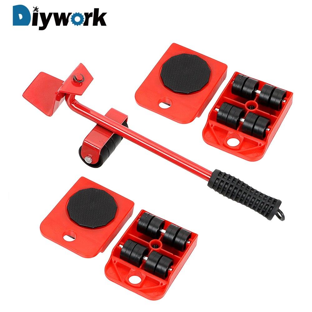 Ensemble d'outils à main DIYWORK outil de levage Durable lourd outils mobiles Transport de meubles 4 déménageurs d'angle sur roues + 1 pied de biche