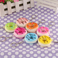 New 2PCS Random color Kawaii Donuts Soft Squishy Colorful Cell phone Charms Chain Cute Straps Keychain Fashion Accessories