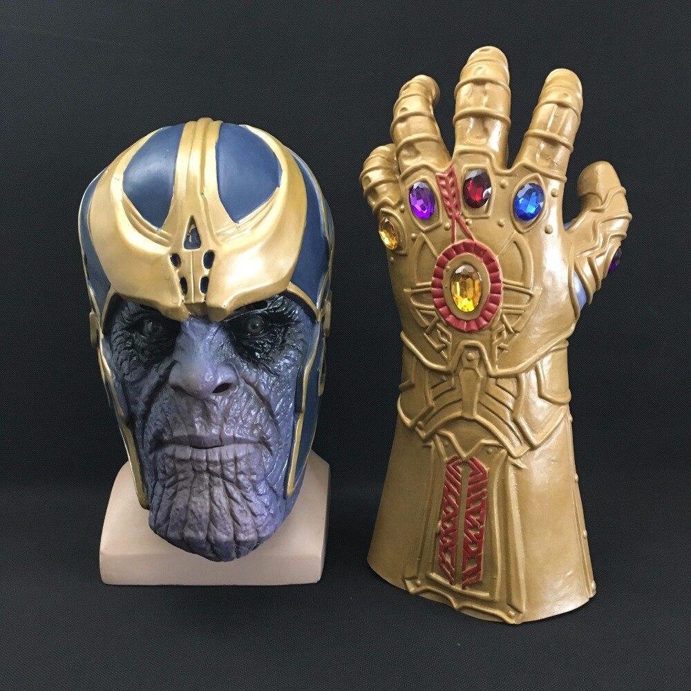 Thanos Mask Infinity Gauntlet Avengers Infinity Guerra Guanti Casco Cosplay Thanos Maschere di Halloween Oggetti di Scena DropShipping