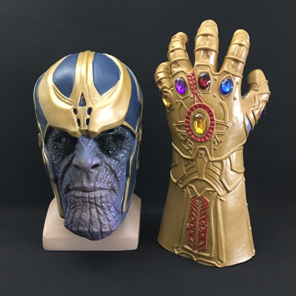 Thanos Mask Infinity Gauntlet Avengers Infinity War Gloves Helmet Cosplay Thanos Masks Halloween Props DropShipping high quality 2018 avengers 3 1 1 thanos glove halloween cosplay prop thanos infinity war gloves