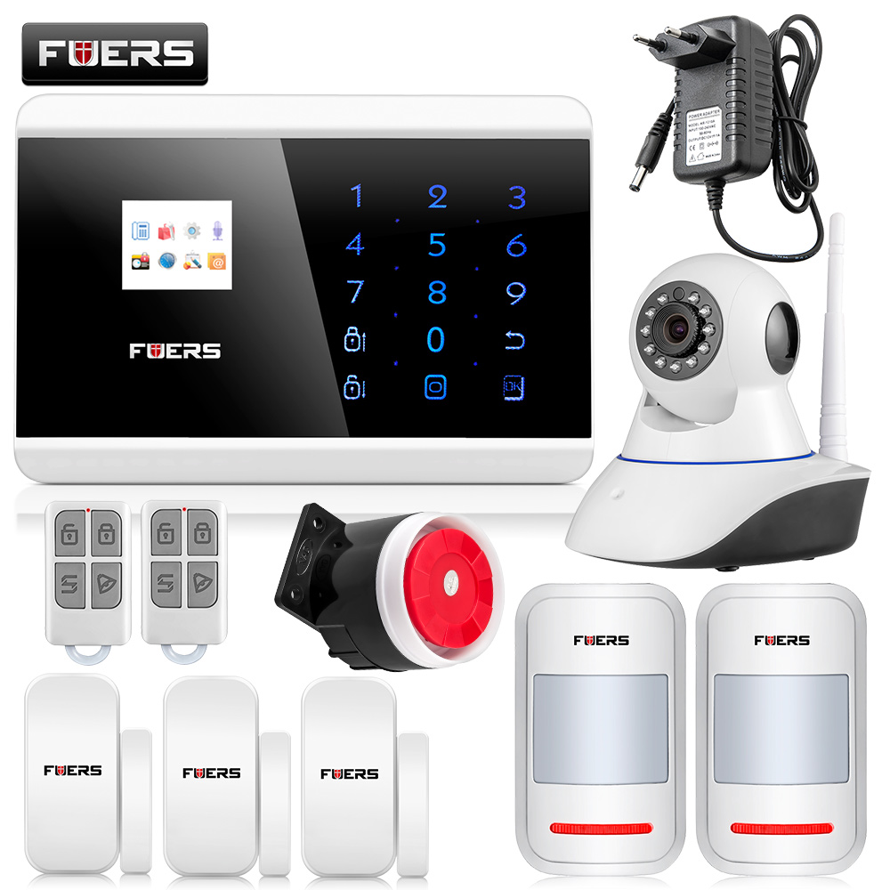 IOS Android APP Control Touch Keypad Alarm Kit Quad Band GSM PSTN Home Security Burglar Alarm System Wireless Wired Alarm fuers quad band gsm pstn burglar alarm security system wireless app control high grade door sensor motion detector home alarm