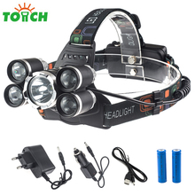 10000LM 5 LED Bulbs Head Torch 4 Mode Tactical Headlight Non Adjustable Focus Led Headlamp with 18650 Battery Charger