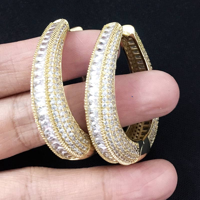 ModemAngel Luxury Twist Braided Lines Multicolor Micro Cubic Zirconia Pave Women Wedding Bridal Party Engagement Earring