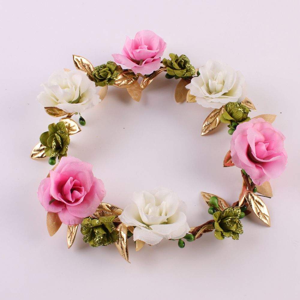 Seaside Flower Gardland For Girls Hair Accessories Pink Kids Rose