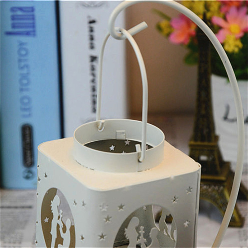 Fashion Creative AIron Square Hollow Candle Candlestick Candle Holder Hang on The Tree or Wall Home Wedding Decoration 8