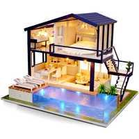 Casa de muñecas muebles de madera Diy casa miniatura caja rompecabezas ensamblar 3D Miniaturas casa de muñecas Kits juguetes para niños regalo de cumpleaños