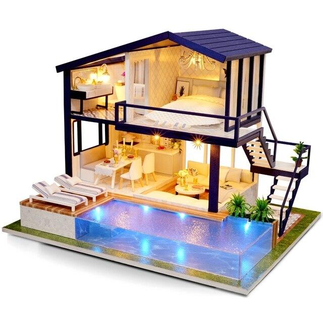 Nhà Búp Bê Bằng Gỗ Nội Thất Nhà Diy Thu Nhỏ Hộp Đồ Chơi Xếp Hình Lắp Ráp 3D Miniaturas Nhà Búp Bê Bộ Dụng Cụ Đồ Chơi Dành Cho Trẻ Em Quà Tặng Sinh Nhật