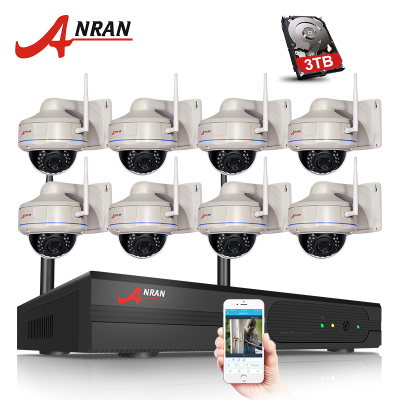 ANRAN 8CH Wifi NVR Kit 8PCS H.264 1080P HD Wireless Wifi IP Camera 2MP Home Security CCTV Vidoe Surveillance Camera System anran plug and play 8ch nvr wifi cctv system p2p 1080p h 264 hd zoom 2 8mm 12mm lens home security wireless ip camera kit
