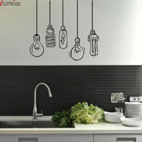 Funny Different Electric Light Bulb Wall Stickers Creative DIY Fashion Ceiling Lamps Living Room Wall Decals