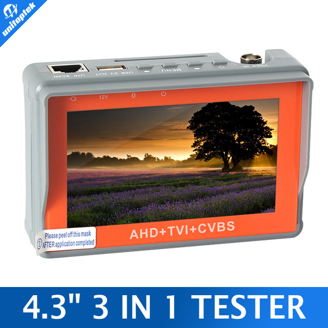 CCTV Тестер 3 В 1 Для AHD, TVI и CVBS Аналоговый Камеры Безопасности Монитор 1080 P С 4.3-Дюймовый ЖК-Экран 5 В 2А, 12 В 1A Наблюдения